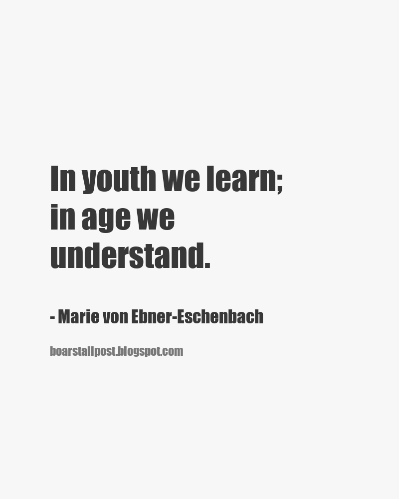 In Youth We Learn In Age We Understand Marie Von Ebner Eschenbach Short Funny Quotes Being Used Quotes Inspirational Quotes Motivation