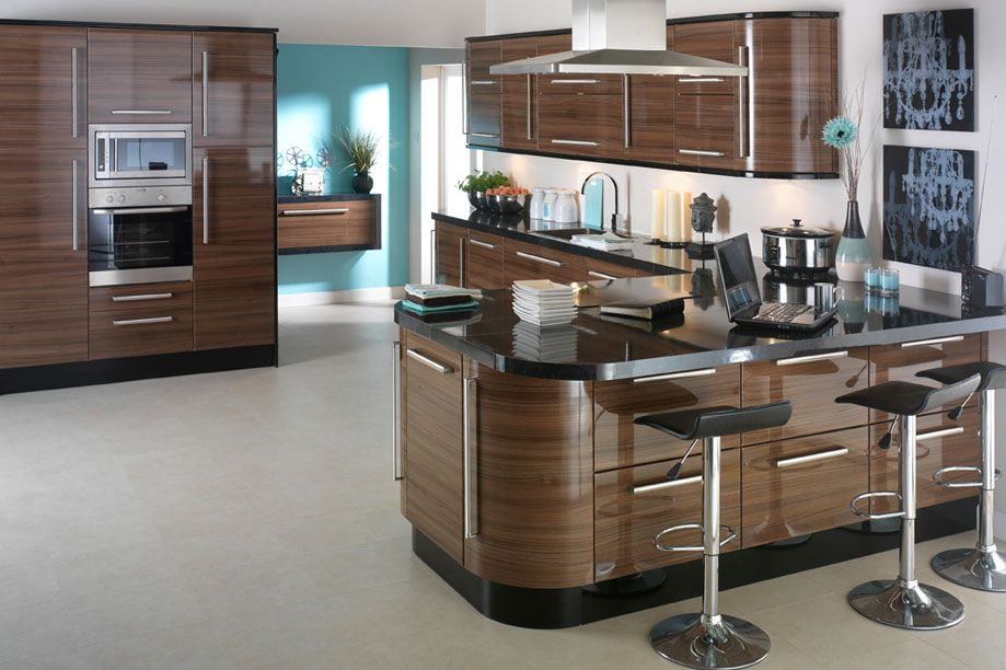 High Gloss Kitchen Design Ideas ~ Apollo dark walnut high gloss kitchen design idea ipc high