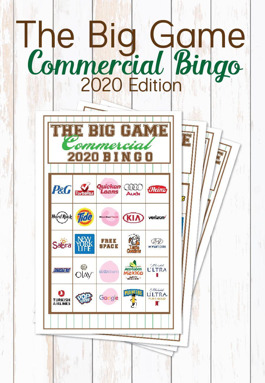 2020 Big Game Commercial Bingo Bingo Big Game Bingo Cards