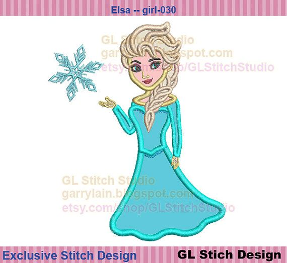 Queen Elsa embroidery applique,  frozen machine Embroidery Design, Disney cold, 3 sizes, girl-030