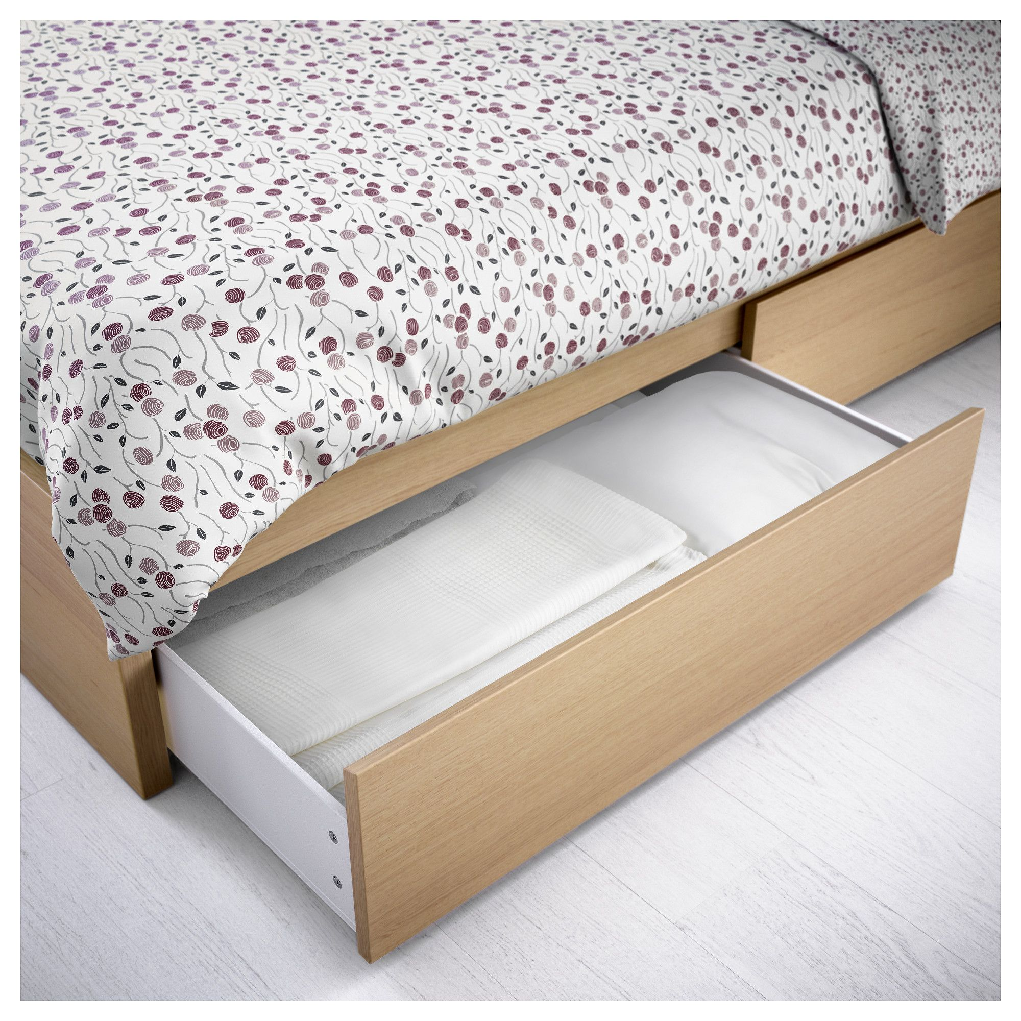 Ikea Malm Bed Storage Part - 15: IKEA - MALM High bed frame-2 storage boxes white stained oak veneer