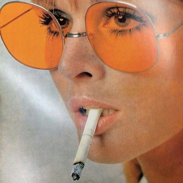 Beautiful Vintage Oversized Frames with Orange Lenses / ShadeThrowr.com