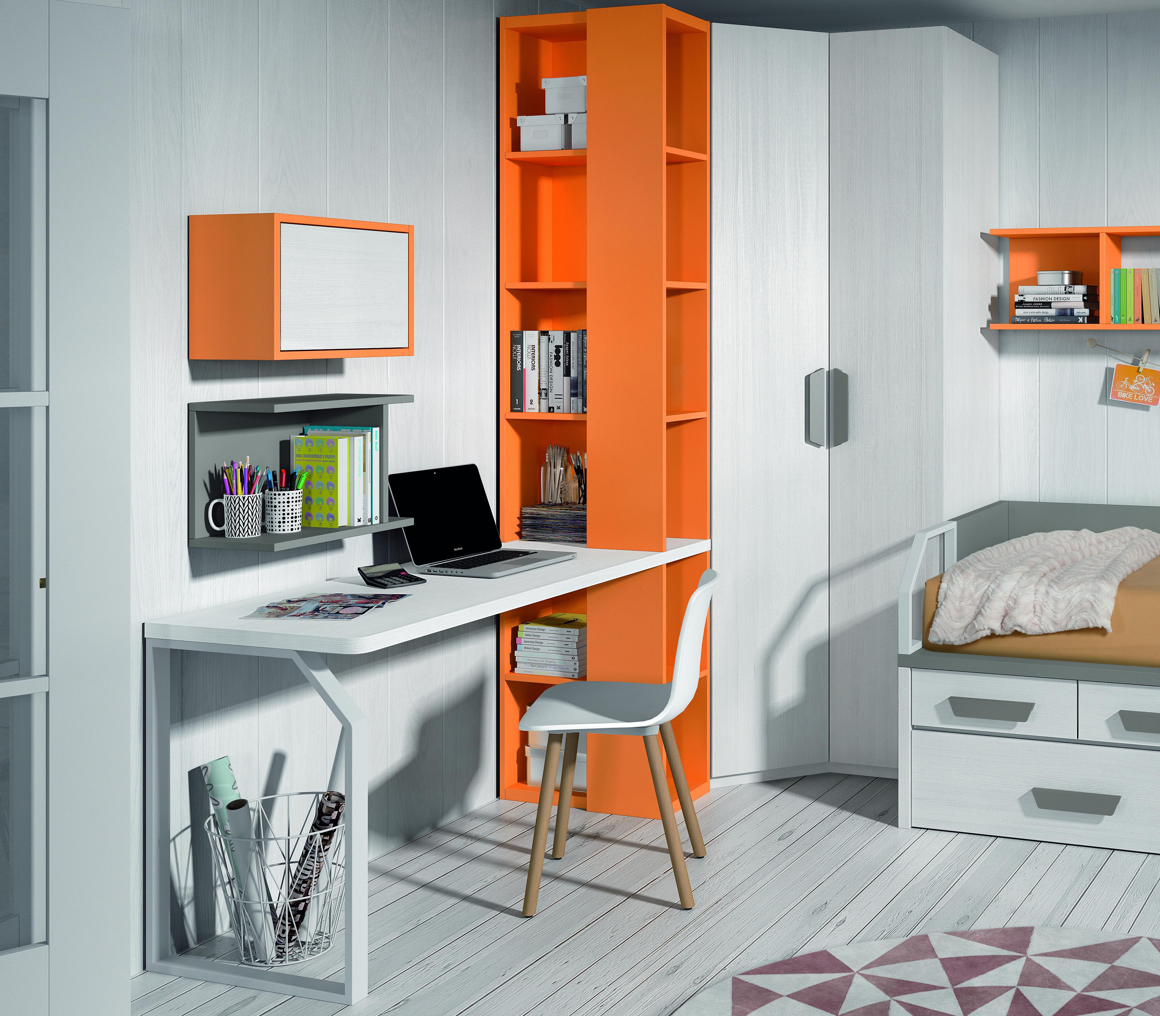 Bureau Moderne Avec Pieds Metalliques Et Etageres De Rangement Bureau Ado Mobilier De Salon Bureau