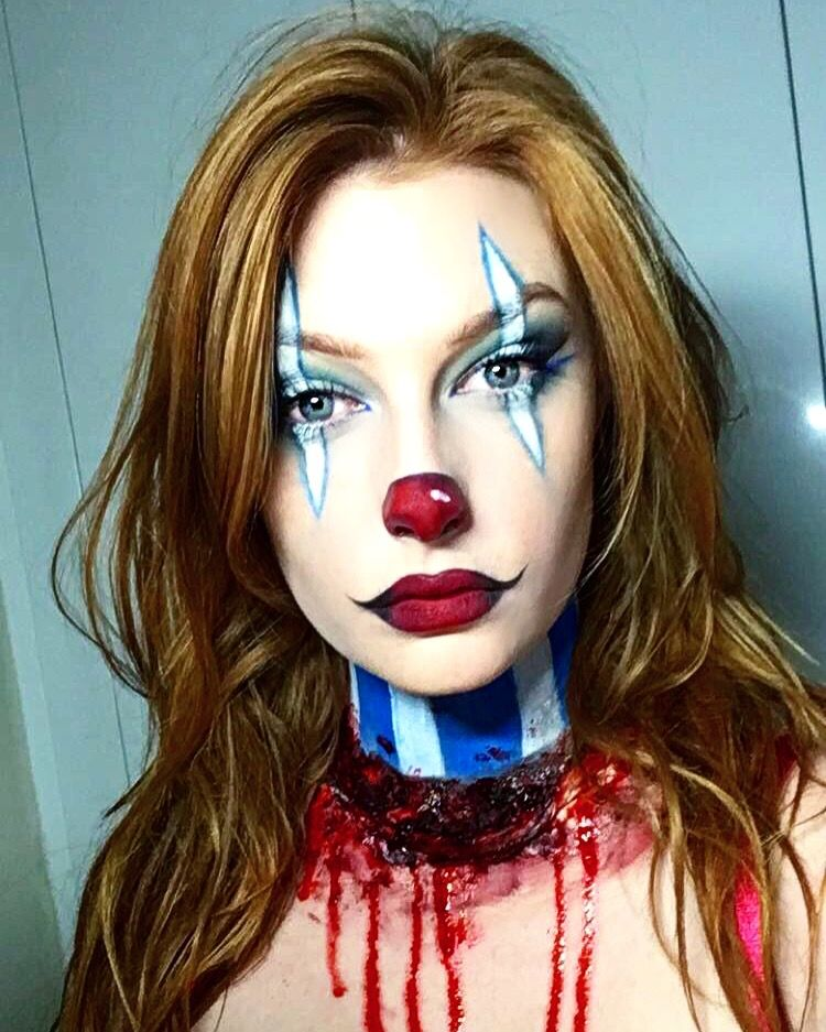 Clown makeup for Halloween. Very simple and easy to do. Slit neck ...