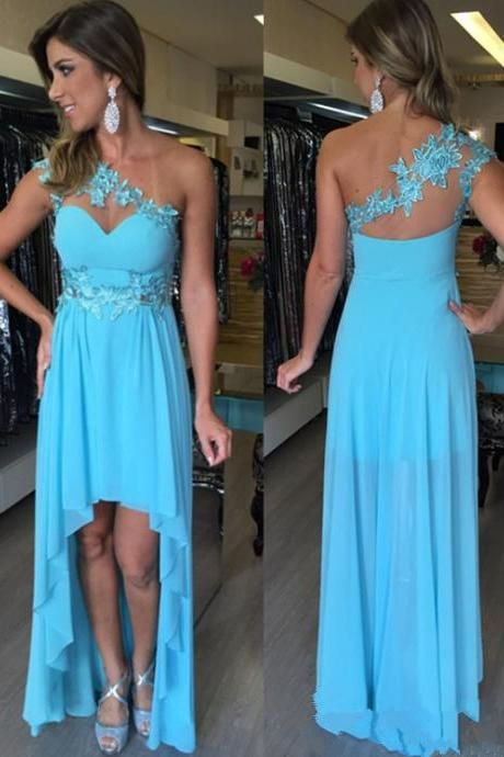 Blue Homecoming Dress,High Low Homecoming Dresses,Chiffon Homecoming Gowns,Party Dress,High Low Prom Gown,Cocktails Dress,Homecoming Dresses, Formal Occasion Dresses,Formal Dress