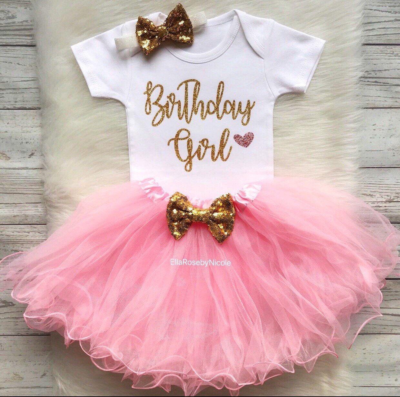 Birthday Ballerina Pink /& Gold Sequin TuTu Romper /& Headband SET