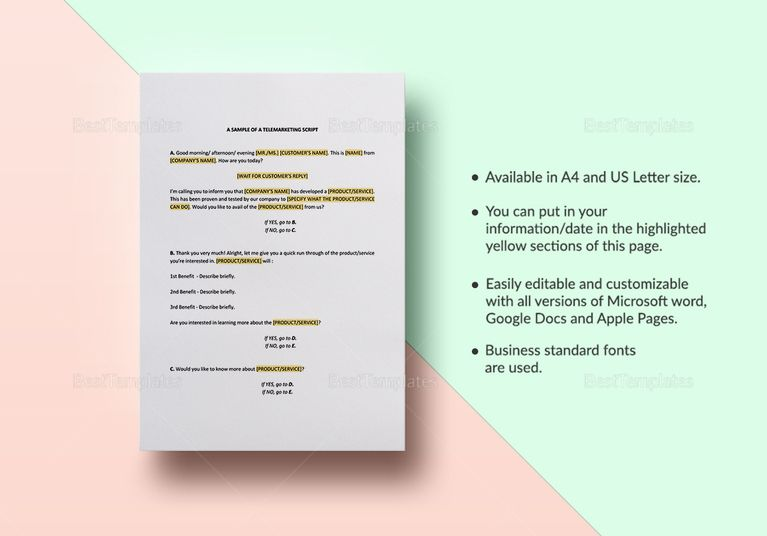 Telemarketing Script Template Templates Documents Design