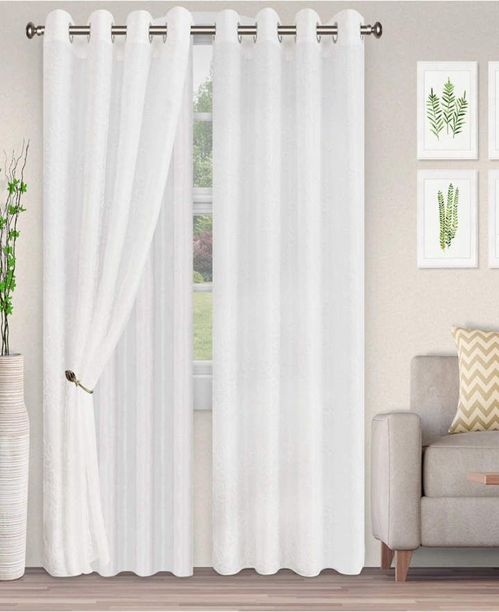 Superior Lightweight Foliage Semi Sheer Curtain Panels 2 52 X