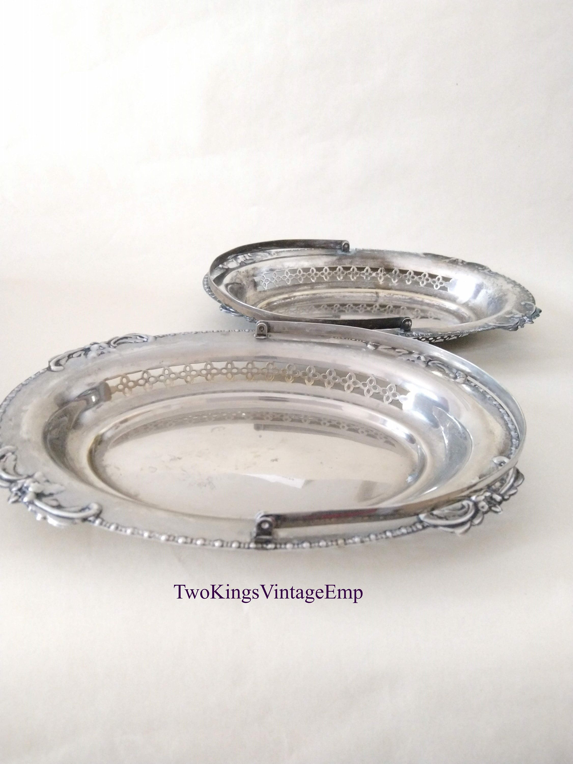 Pair of Silver Plated, Flower Basket for Bridal