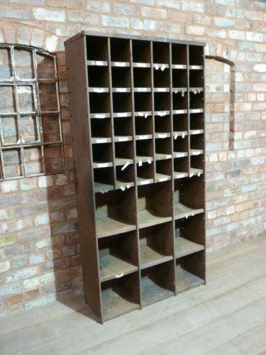 Vintage Industrial Metal Pigeon Holes Shelving Unit Shop