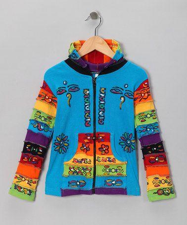 Turquoise Rainbow Zip-Up Hoodie - Toddler & Girls by Rising International #zulily #zulilyfinds