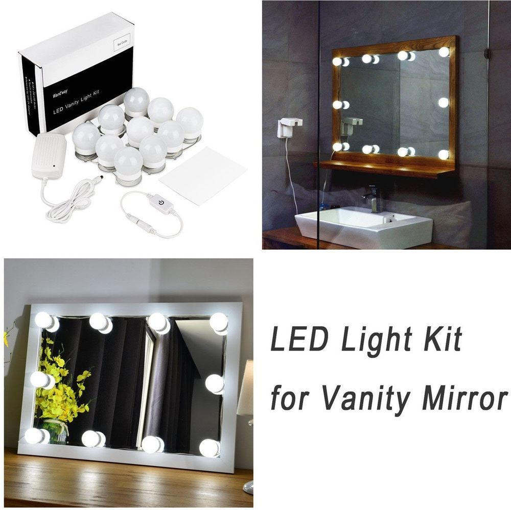 Hollywood Style Led Lighted Vanity Mirror Lights Bulbs Kit For Makeup Dressing