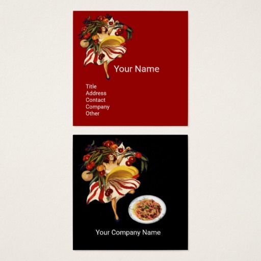 SPAGHETTI PARTY DANCE,ITALIAN KITCHEN AND TOMATOES SQUARE BUSINESS CARD  #food #culinary #woman #chef #cook #events