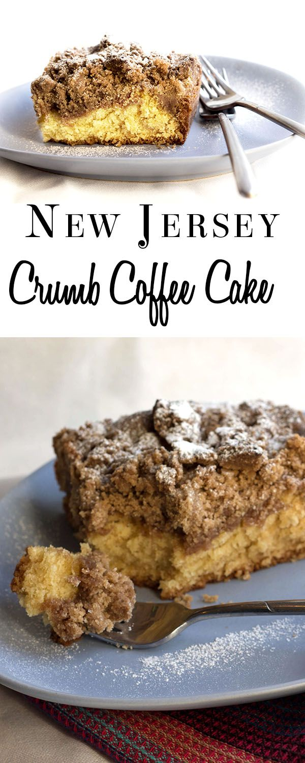 This recipe  from Erren's Kitchen for New Jersey Crumb Coffee Cake makes an incredibly moist cake with a extra thick cinnamon, sugar & butter crumb topping - just like you find in New Jersey bakeries.