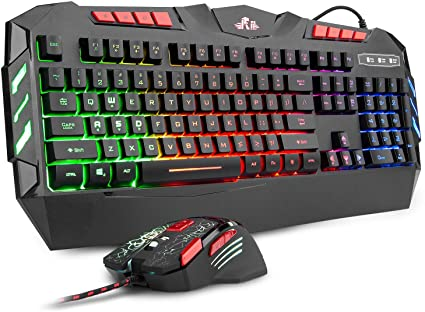 Amazon Com Rii Rgb Led Backlight Wired Gaming Keyboard And Mouse Combo Pc Gaming Keyboard Office Keyboard For Windows Android Mac Xbox Keyboard Htpc Pc Laptop