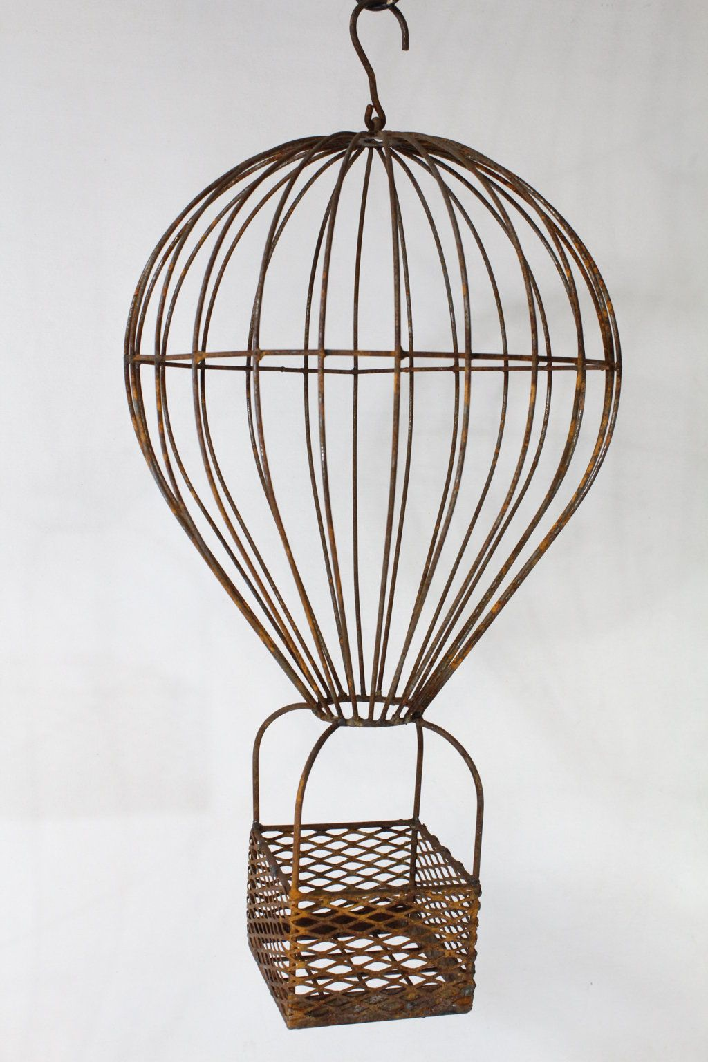 Wrought Iron Small Hot Air Balloon Basket Plant Container | Party ...