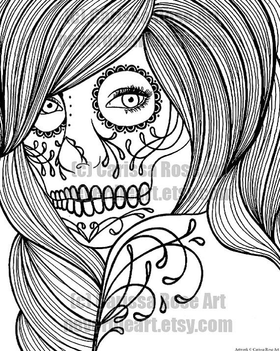 digital download print your own coloring book outline page day of the dead woman by - Print Your Own Coloring Book