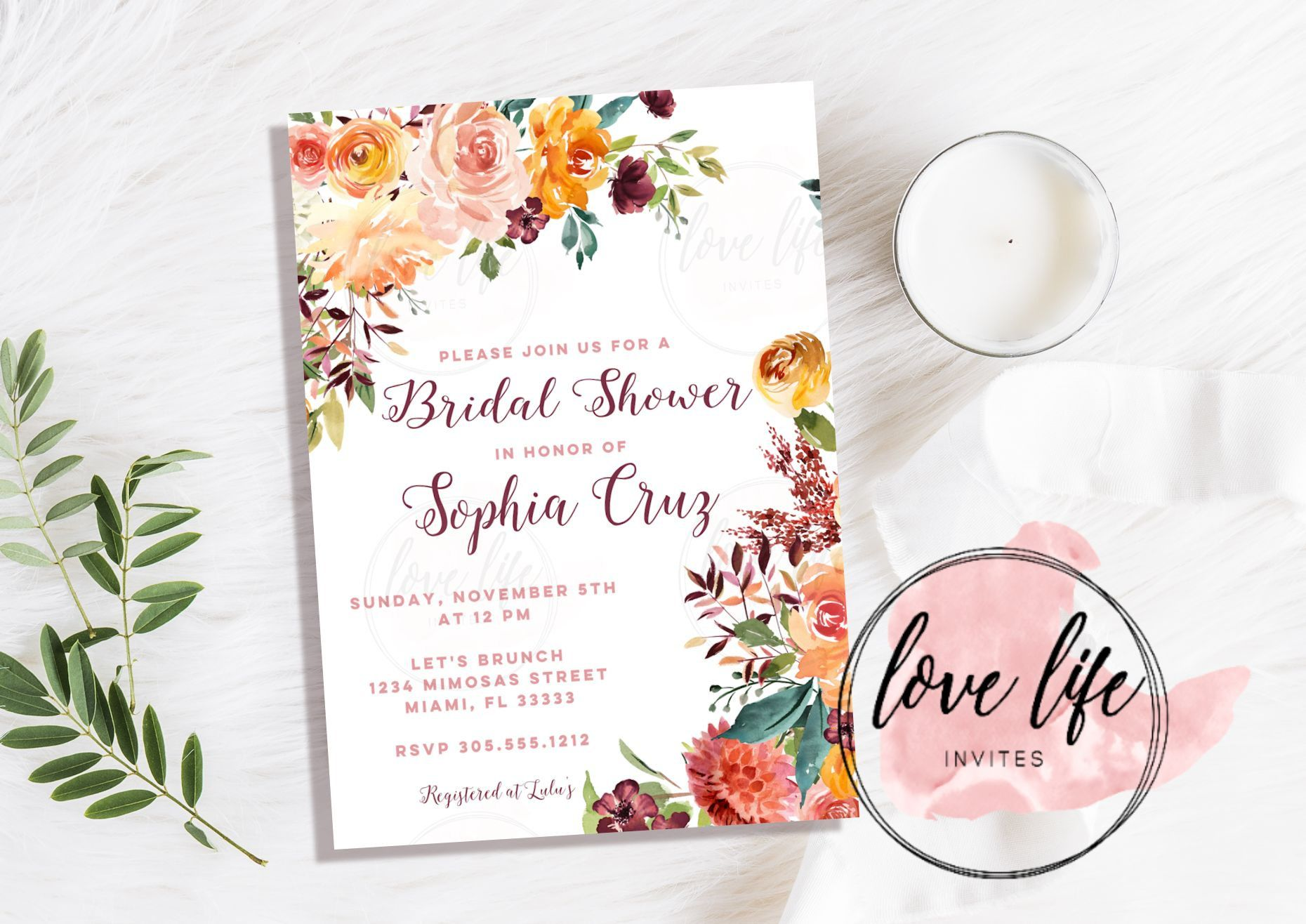 Fall in love watercolor bridal shower invitation fall bridal fall in love watercolor bridal shower invitation fall bridal shower invitation fall theme party filmwisefo Gallery