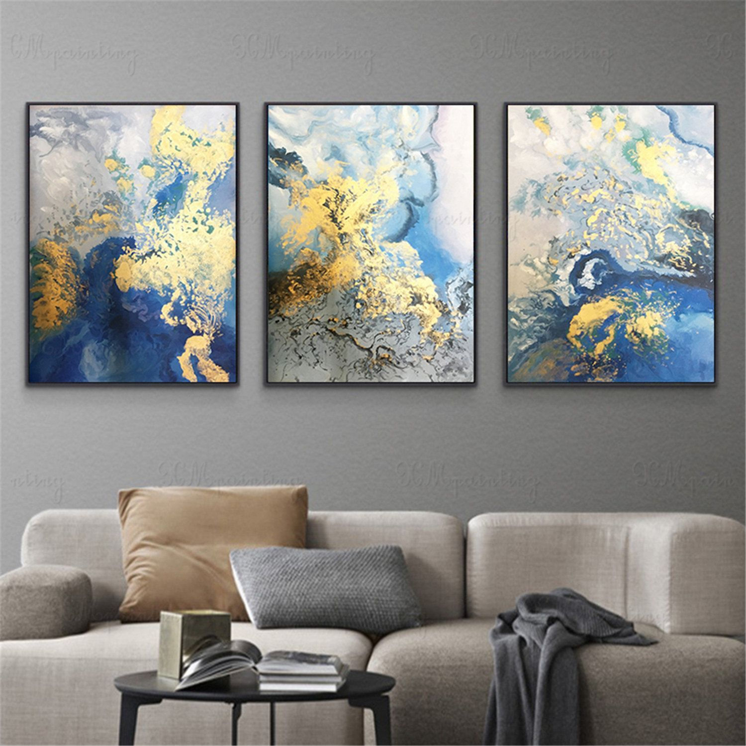 3 Pieces Gold Art Abstract Painting Wall Art Picture For Etsy Wall Art Living Room Living Room Pictures Living Room Art
