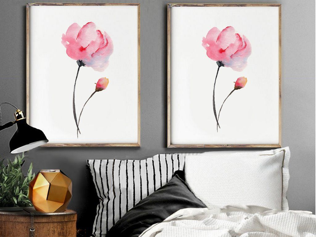 Set of  Watercolor Peonies Shabby Chic Wall Decor Peony Watercolor