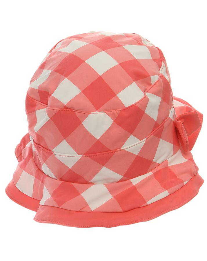 Archimède Hut VICHY mit Schleife in rosa/weiß