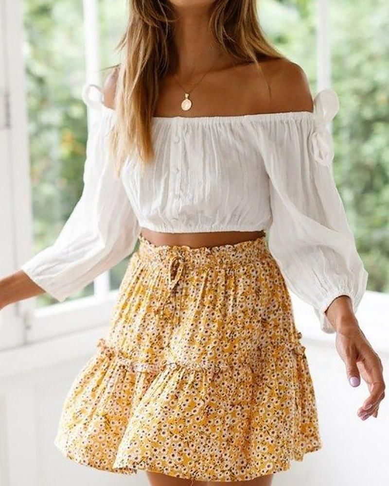 Bandeau Straps Floral Skirt Suit