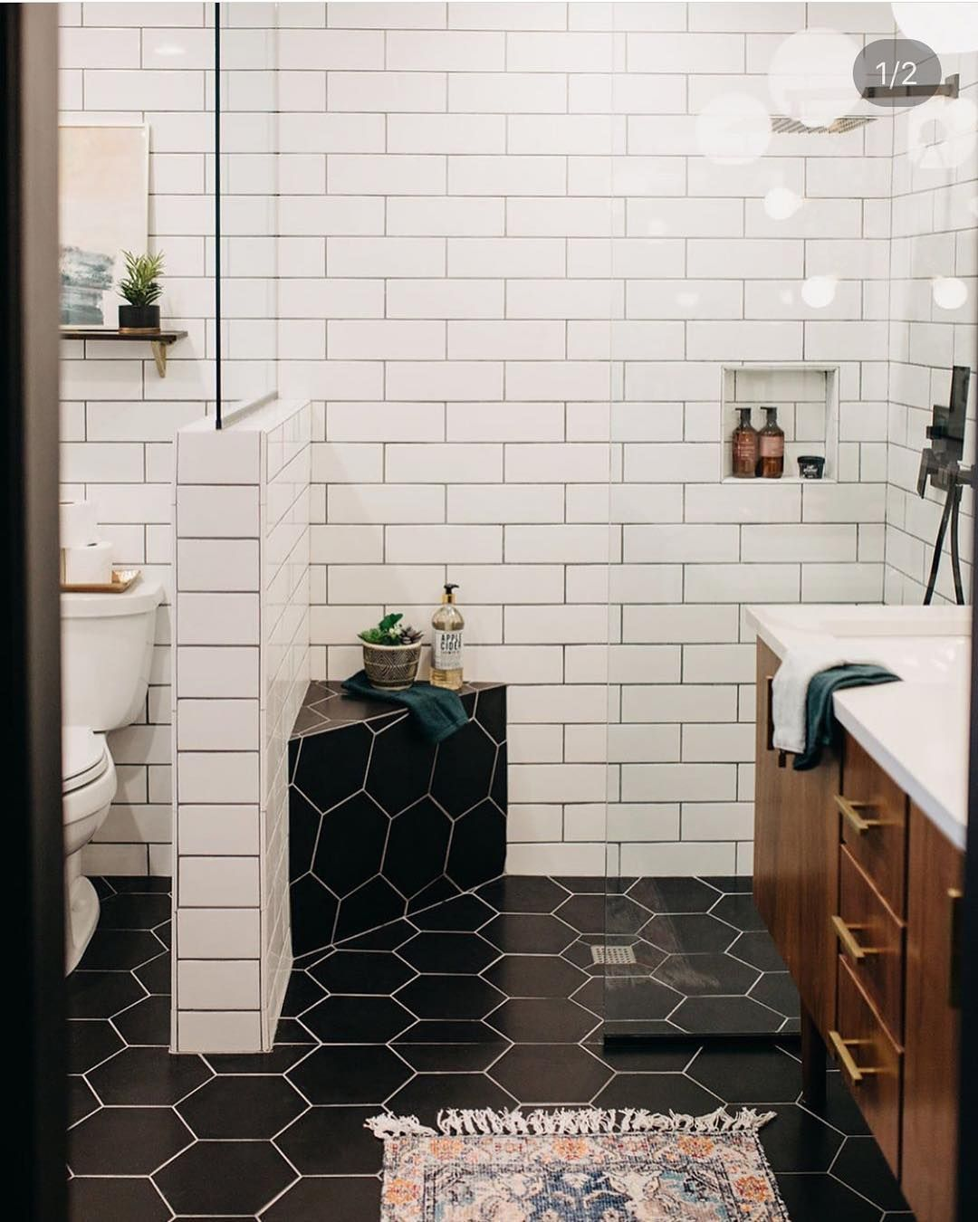 Mid Century Boho Scandinavian On Instagram Absolutely Stunning Bathroom Designed By Gat Mid Century Modern Bathroom Bathroom Interior Design Bathroom Design