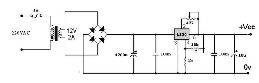 Variable Power Supply Based L200 For Its Output Voltage Is Controlled By A Variable Resistor 10k Output Volt Power Supply Circuit Power Supply Circuit Diagram