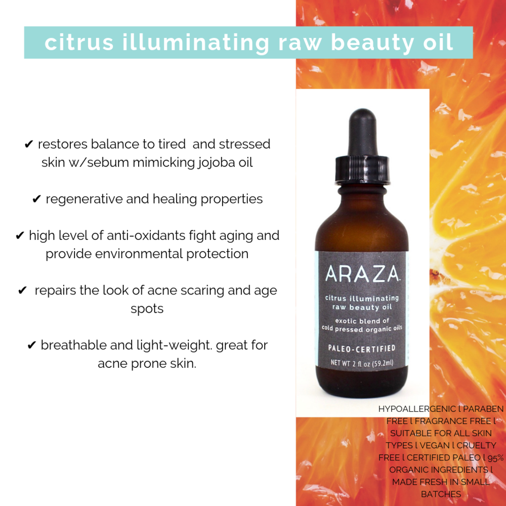 Raw Beauty Oil At Night Time  On freshly clean and still damp skin rub a generous amount of Citrus Illuminating Raw Beauty Oil over your entire face Enjoy a restful night...