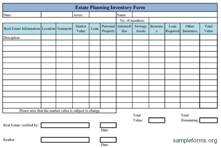 Inventory Form Worksheet Template Estate Planning Checklist Estate Planning