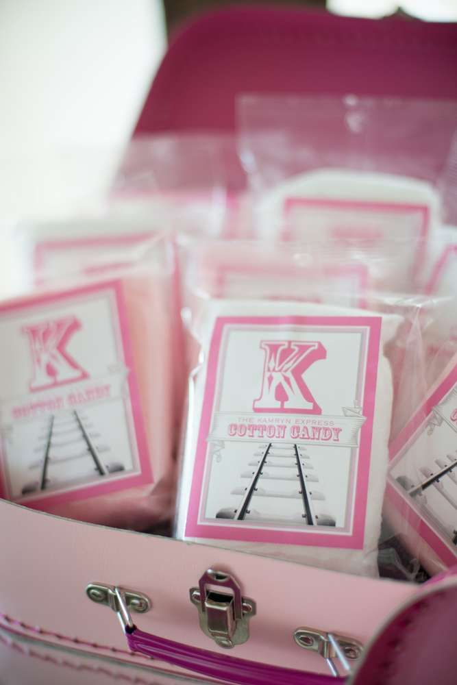 Pink Cotton Candy At A Girl Train Birthday Party See More Ideas CatchMyParty
