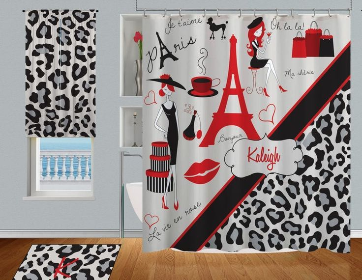 Paris Shower Curtain Cheetah Print Shower Curtain Eiffel Tower