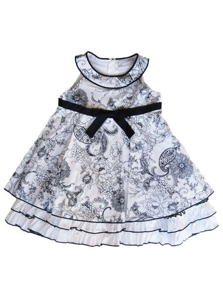 Biscotti Infant Girls Navy Print Dress Size 12m Last One