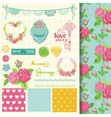 Design elements - floral shabby chic theme vector by woodhouse84 on VectorStock®