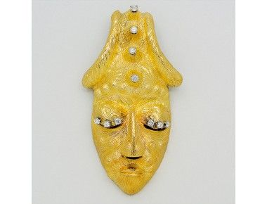 Diamond and 18K Gold Mask Pendant/Brooch « Dupuis Fine Jewellery Auctioneers