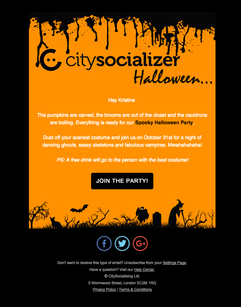 halloween event newsletter from citysocializercom made by kristine tsiknaki