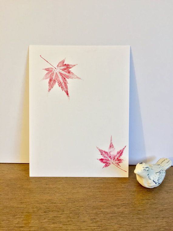 Japanese maple leaf greeting card or stationery inked using real japanese maple leaf greeting card or stationery inked using real jm leaves on heavy m4hsunfo