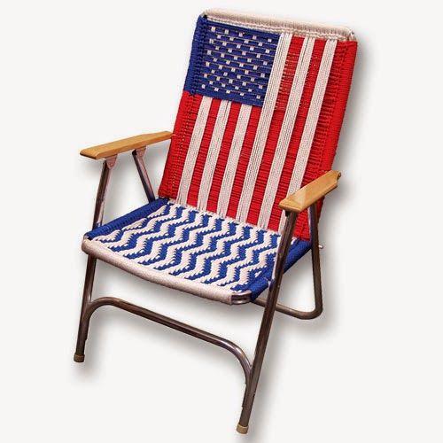DIY Tutorial Pattern: American Flag Lawn Chair. #weave #crochet #macrame