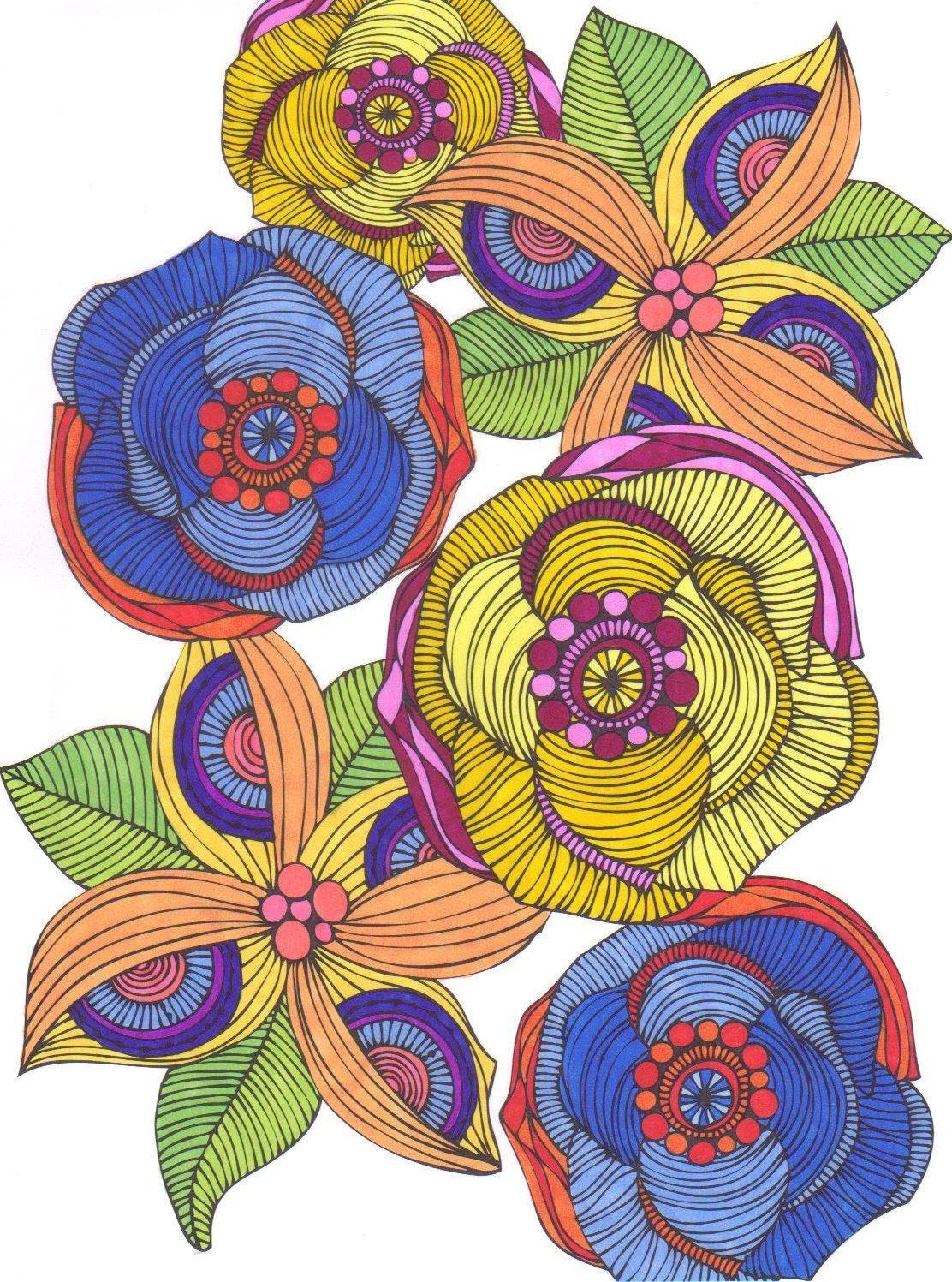 Coloring art activities - Art Creative Coloring Flowers Art Activity