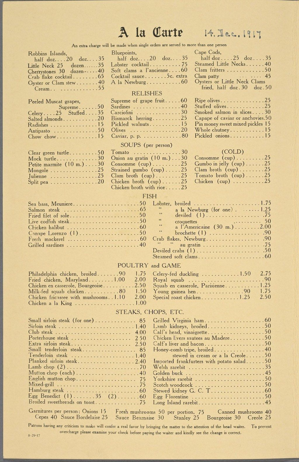 Image result for grand central terminal menu 1917