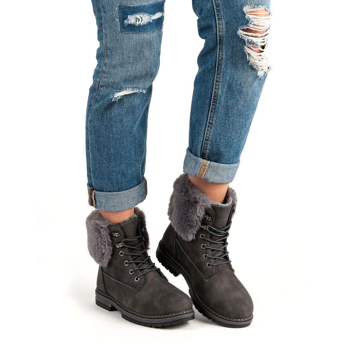 Sds Szare Trapery Z Futerkiem Shoes Ankle Boot Fashion