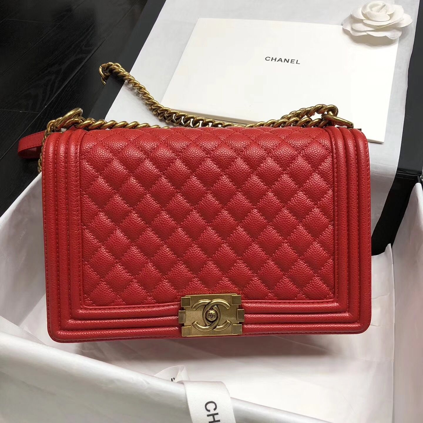 d4f252ae800952 Chanel New Medium Original Caviar Leather Le Boy Flap Bag 28cm Red ...