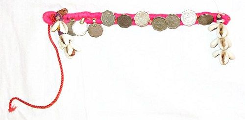 Vintage North Indian Tribal Belly Dance Ethnic Armband with Coins and Cowries.  Double row base with bright pink cotton floss wrapping.  Attached along the base like either a button or charm are old I