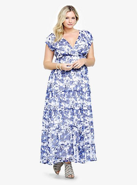 Elegant White Blue Floral Print Plus Size Summer Maxi Dress 2014