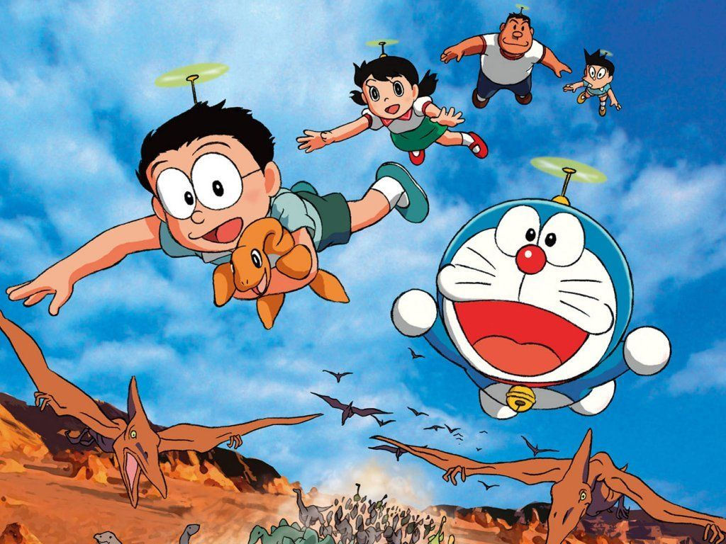 Beau Doraemon And His Friends Flying With Dinosaur, Doraemon Famous Cartton,  Doraemon Cartoon Serial Images And Wallpapers