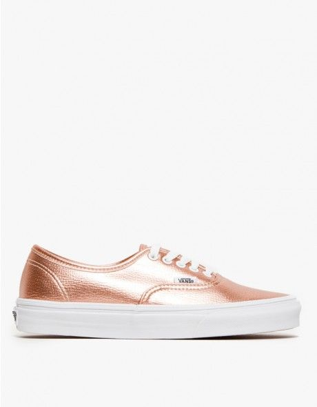 610ad57a683 Iconic canvas sneaker from Vans in a lustrous metallic faux-leather.  Features classic ""