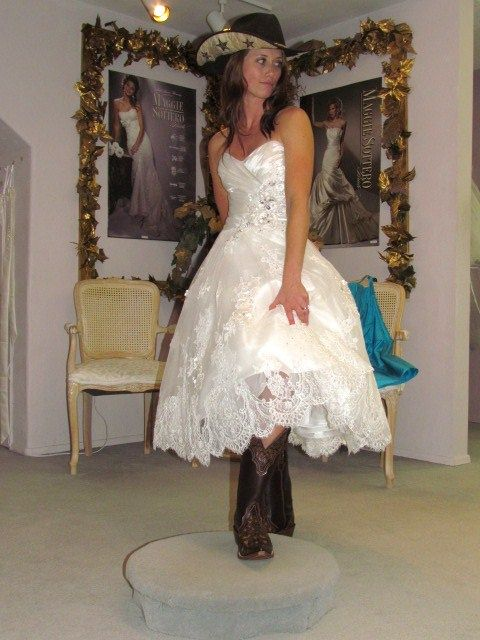 Belle Bridal Wedding Dress Laurel Cowgirl Boots And Hat Wedding