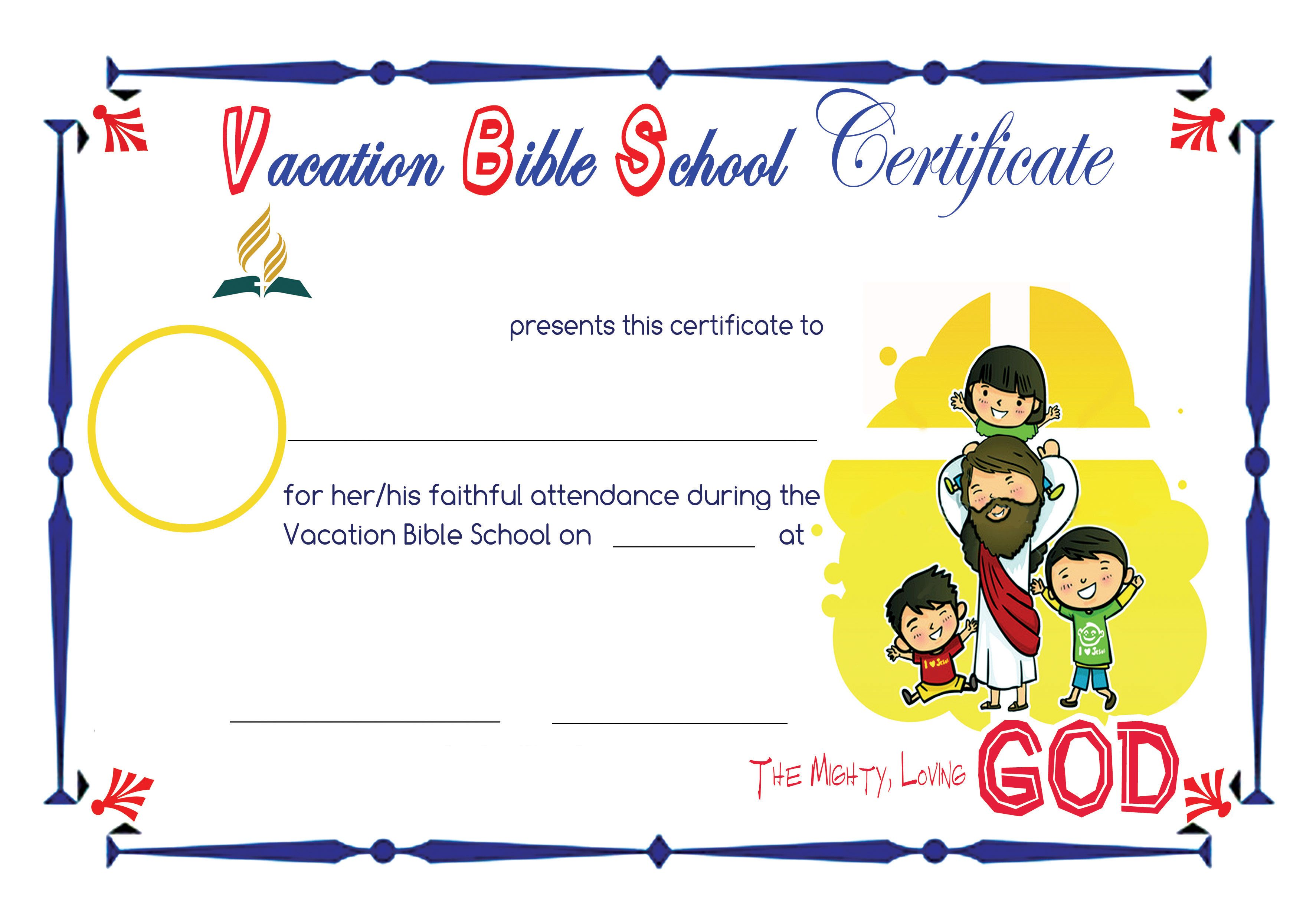 photo about Vbs Certificate Printable known as Bible College Certificates Pics in direction of Pin upon Pinterest
