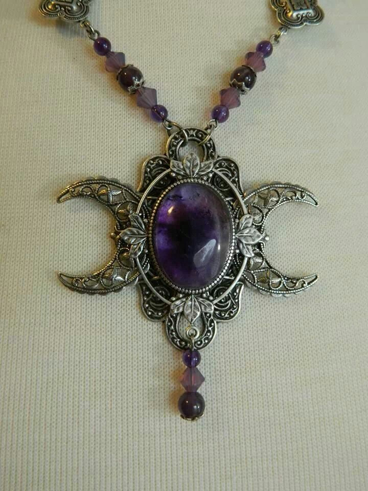triple goddess of amethyst product silver saraswati moon the crystal is devi necklace