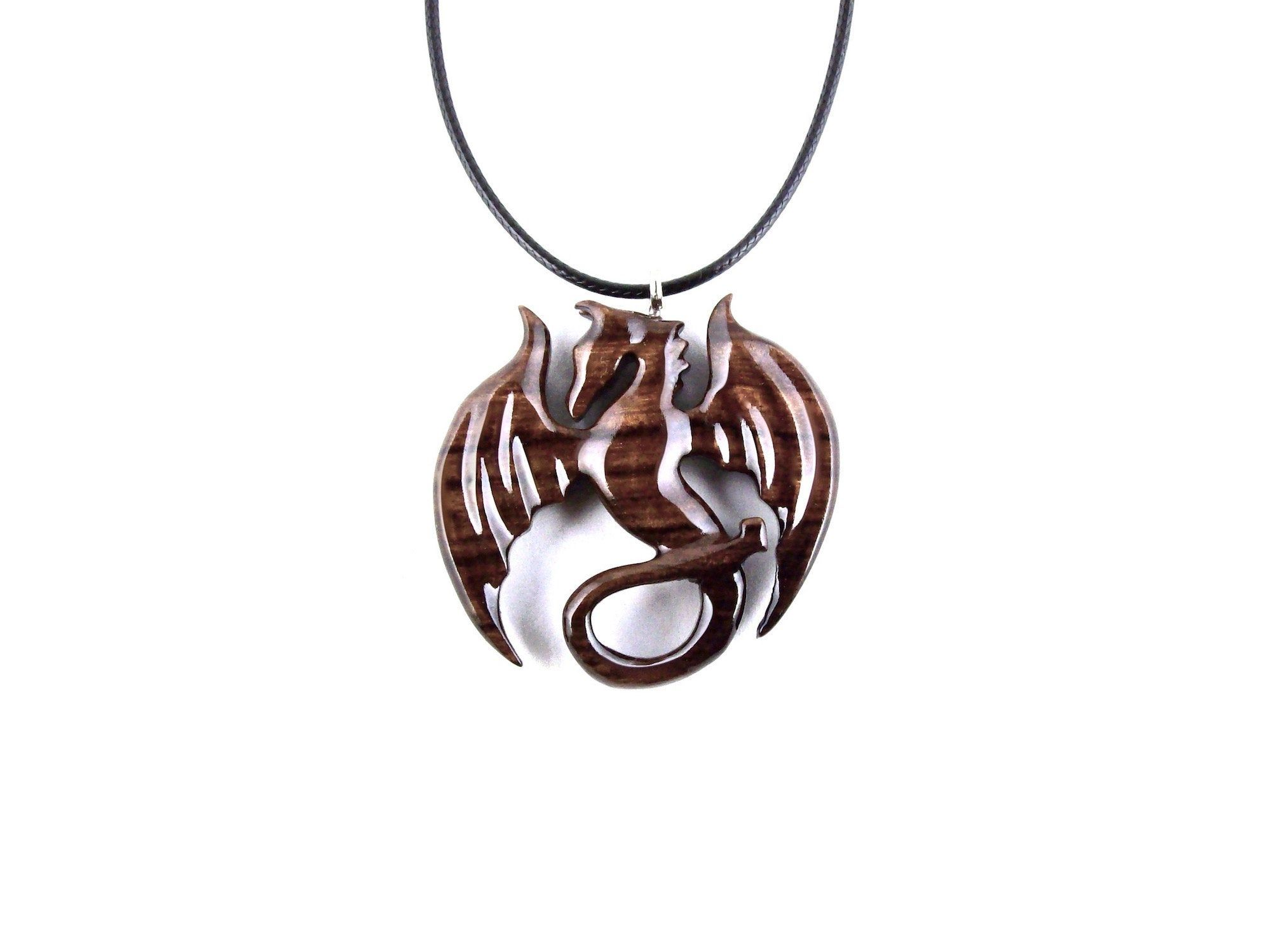 Fantasy Jewelry Wood Dragon Jewelry Gift for Her Him Carved Wooden Dragon Pendant Dragon Necklace for Men or Women